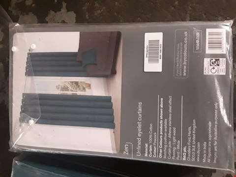 "Lot 78 BAGGED COLOURS ZEN PEACOCK UNLINED EYELET CURTAINS W90"" D90"""