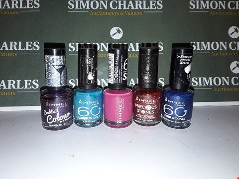 Lot 14 LOT OF 5 ASSORTED RIMMEL LONDON NAIL POLISHES
