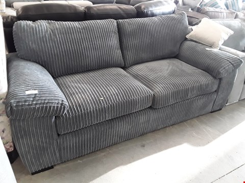 Lot 59 DESIGNER GREY JUMBO CHORD THREE SEATER SOFA