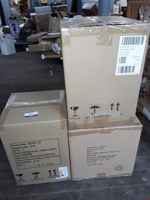 Lot 84 LOT OF 3 ASSORTED BOXED LAMPS TO INCLUDE THEO TRIPOD AND LEIGHTON FLOOR LAMP