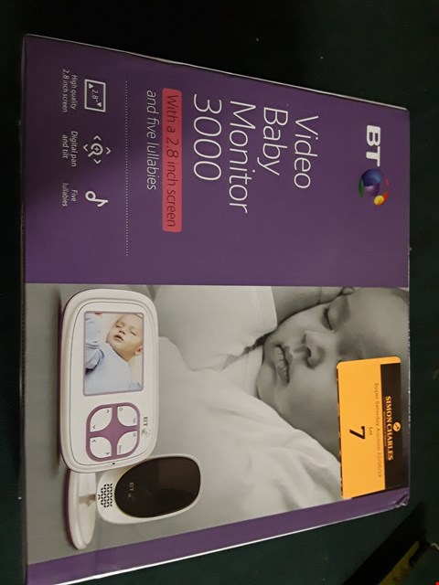 Lot 7 BT VIDEO BABY MONITOR 3000 RRP £100.00