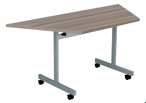 Lot 60 10 BRAND NEW ONE EIGHTY TRAPEZOIDAL 160 X 80 FLIP TOP MEETING TABLE TOPS ONLY- GREY OAK