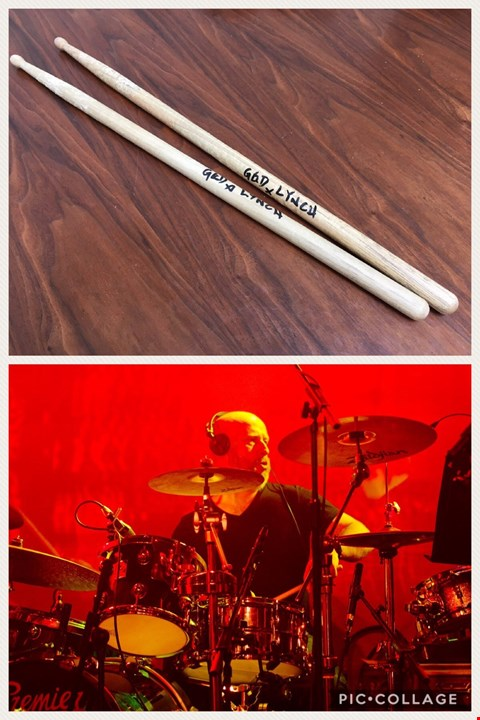 Lot 24 SIGNED DRUMSTICKS DONATED BY ROCK LEGEND GED LYNCH