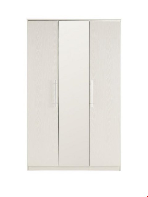Lot 7050 BOXED GRADE 1 PRAGUE WHITE 3 DOOR WARDROBE WITH MIRROR  (3 BOXES) RRP £513.00