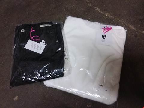 Lot 871 BOX OF APPROXIMATELY 20 ASSORTED ITEMS OF CLOTHING TO INCLUDE IVORY DRESS SIZE 10, BLACK SKINNY JEANS SIZE 10