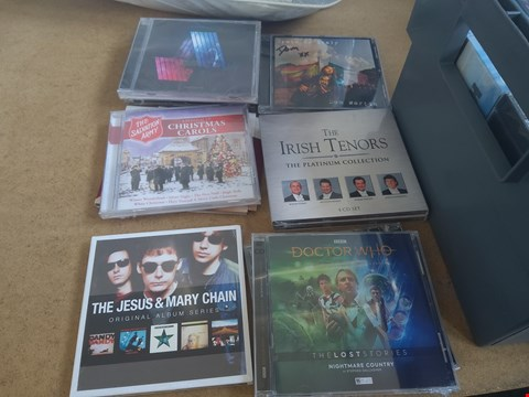 Lot 2546 BOX OF APPROXIMATELY 65 ASSORTED CDS INCLUDING DR WHO THE LOST STORIES , REFUGEE , THE IRISH TENORS , DOM MARTIN AND THE JESUS & MARY CHAIN BOX NOT INCLUDED