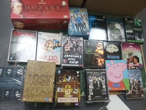 Lot 12032 A BOX OF APPROXIMATELY 21 ASSORTED DVD/BOXSETS TO INCLUDE WOLFGANG AMADEUS MOZART COMPLETE WORKS AND A LOST THE COMPLETE COLLECTION