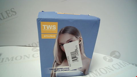 Lot 18075 BOXED TWS BTH-F9-5 WIRELESS EARBUDS