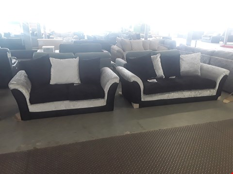Lot 3 DESIGNER TWO TONE BLACK AND SILVER CRUSHED VELVET 2 & 3 SEATER SOFAS