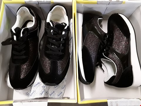Lot 4049 2 BOXED SCHOLL CHARLIZE GLITTER TRAINERS - SIZES 7, 8