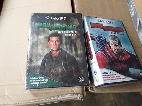 Lot 11008 BOX OF APPROXIMATELY 22 DVD SETS TO INCLUDE BEAR GRYLLS BORN SURVIVOR SERIES 1 & 2, 5 & 6