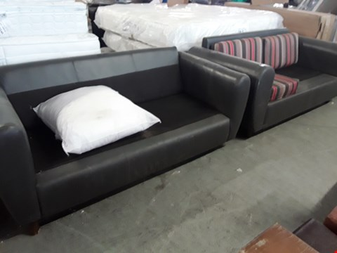 Lot 193 PAIR DESIGNER THREE SEATER BROWN FAUX LEATHER SOFA FRAMES