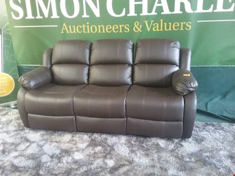 Lot 45 DESIGNER ANTON BROWN BONDED LEATHER RECLINING 3 SEATER SOFA