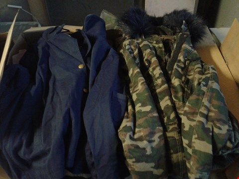 Lot 327 BOX OF APPROXIMATELY 8 CLOTHING ITEMS TO INCLUDE CAMOUFLAGE COTTON PARKA AND INDIO CROPPED JACKET