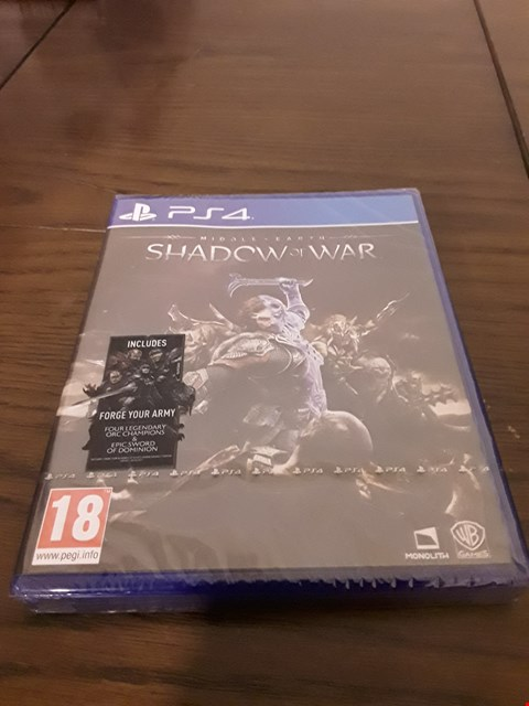 Lot 1010 MIDDLE EARTH : SHADOW OF WAR PLAYSTATION 4 GAME