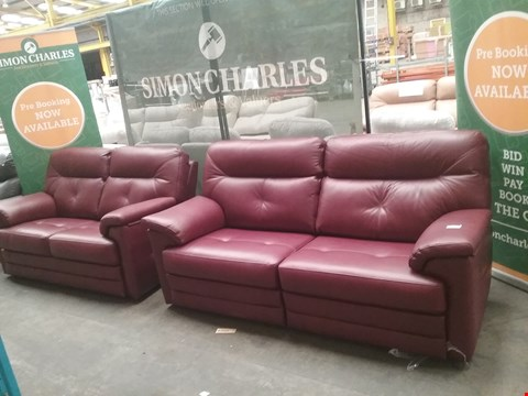 Lot 3 QUALITY BRITISH MADE HARDWOOD FRAMED OX BLOOD LEATHER RECLINING 3 SEATER SOFA AND FIXED 2 SEATER SOFA