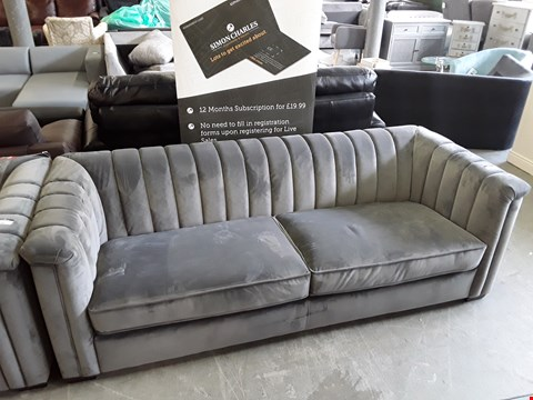Lot 9 DESIGNER GREY PLUSH VELVET 3 SEATER SOFA
