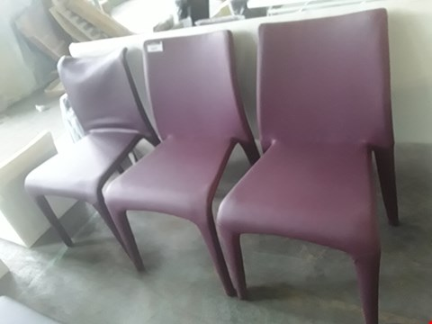 Lot 53 THREE PURPLE FAUX LEATHER WRAPPED CHAIRS