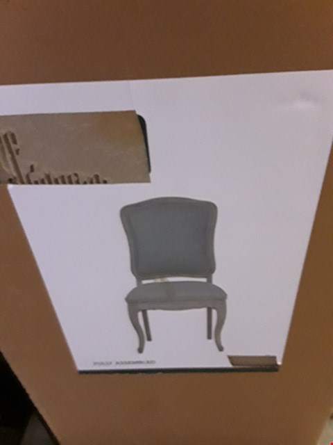 Lot 2053 DESIGNER BOXED GREY FABRIC DINING CHAIRS