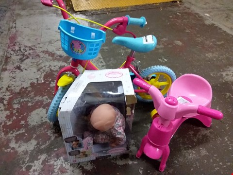 Lot 170 LOT OF 3 KIDS ITEMS INCLUDES PEPPA PIG BIKE, BABY ANNABELLE DOLL AND MY FIRST TRIKE