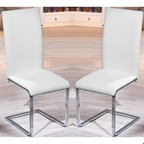 Lot 365 DESIGNER BOXED MONTANA WHITE LEATHER DINING CHAIR