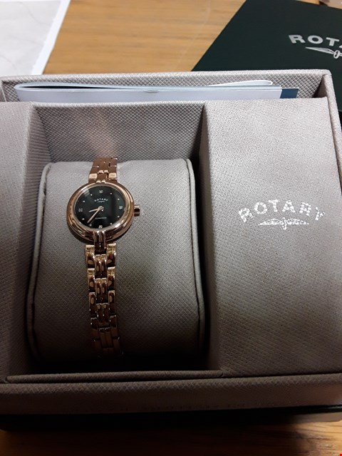 Lot 425 GRADE 1 ROTARY DIAMOND DIAL ROSE GOLD STAINLESS STEEL WATCH  RRP £499