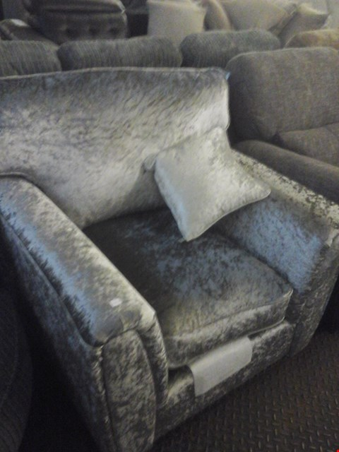 Lot 69 DESIGNER SILVER CRUSHED VELVET EFFECT FABRIC ARMCHAIR WITH CUSHION