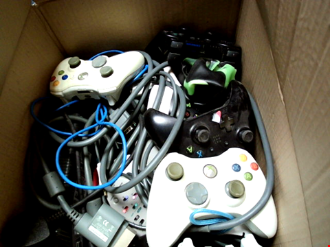 Lot 15673 BOX OF ASSORTED GAMES CONTROLLERS AND CABLES ETC