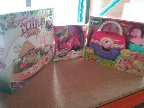 Lot 9046 A FAIRY GARDEN, A HEATHER UNICORN PRINCESS AND A TOOT-TOOT ANIMALS PET SALON