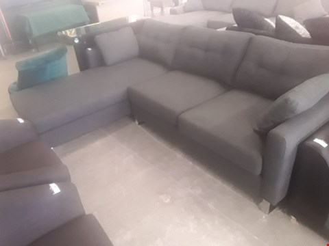 Lot 74 DESIGNER DARK GREY CHAISE SOFA ON CHROME FEET RRP £499.99