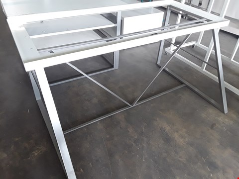 Lot 2055 LARGE METAL FRAMED WHITE WORK TABLE