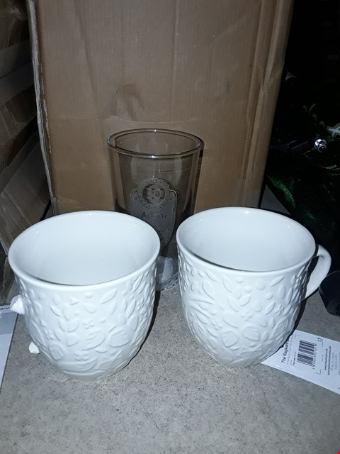 Lot 8052 LOT OF 3 ASSORTED ITEMS TO INCLUDE A PERSONALISED PINT GLASS AND 2 WHITE FOREST PATTERNED MUGS
