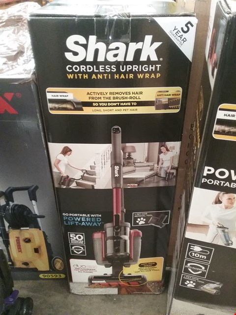 Lot 9214 BOXED SHARK CORDLESS UPRIGHT WITH ANTI HAIR WRAP