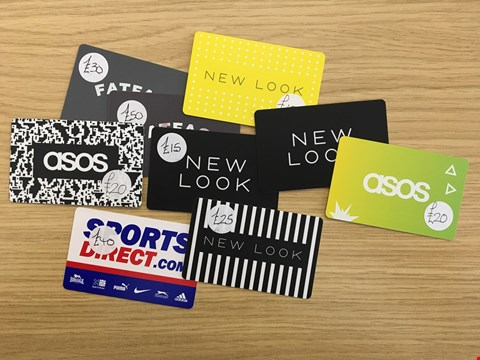 Lot 16 9 ASSORTED CLOTHING VOUCHERS, INCLUDING ASOS, NEW LOOK, FAT FACE AND SPORTS DIRECT.  TOTAL VALUE £225
