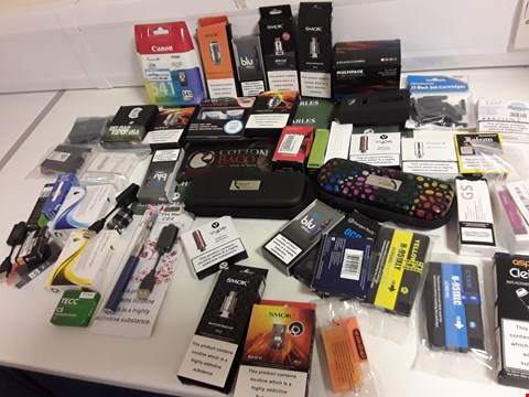 Lot 1172 BOX OF APPROXIMATELY 45 ASSORTED ITEMS TO INCLUDE INK CARTRIDGES AND ELECTRONIC CIGARETTE ACCESSORIES
