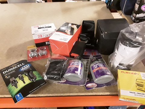 Lot 3036 APPROXIMATELY 11 ASSORTED ITEMS, INCLUDING, FACET ELECTRIC FUEL PUMP, 3 × SEATBELT EXTENSIONS, 24V LED WHITE LIGHTS, VAG TYRE REPAIR KIT, LOCTITE RUST CURE,