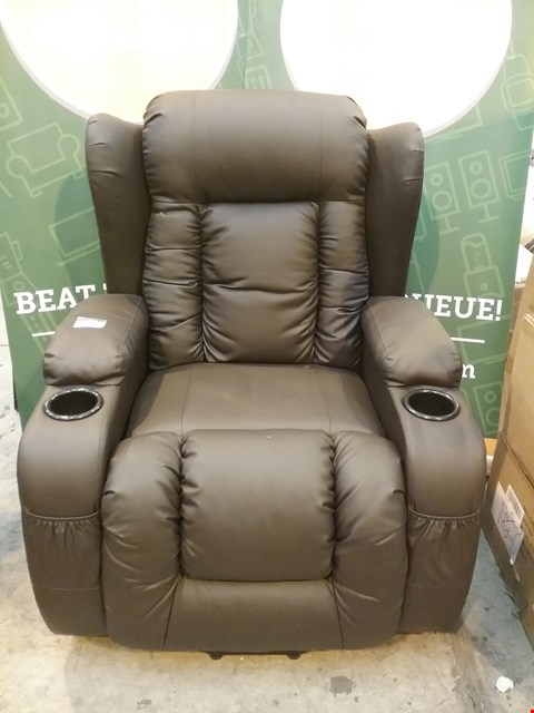 Lot 44 DESIGNER BROWN LEATHER RECLINING ARM CHAIR