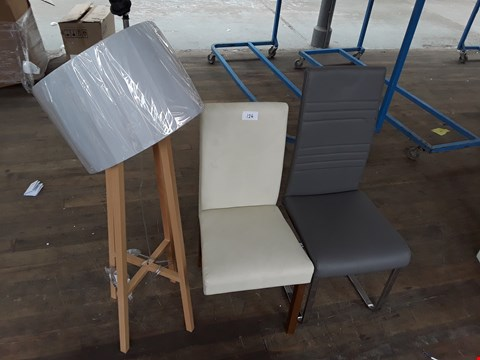 Lot 124 LOT OF 3 ASSORTED ITEMS INCLUDES 2 CHAIRS AND FLOOR LAMP