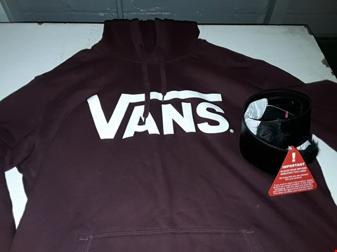 Lot 595 LOT OF 2 ASSORTED ITEMS TO INCLUDE BURGUNDY VANS HOODIE - LARGE, FUR TRIM WAIST BELT - SMALL