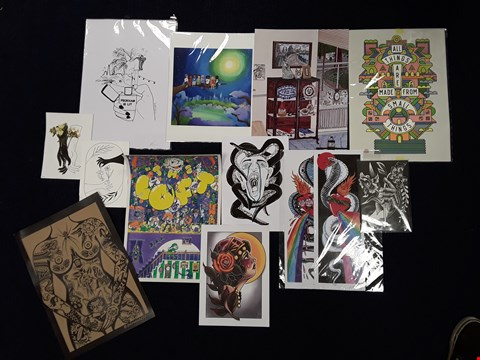 Lot 36 APPROXIMATELY 13 ASSORTED ARTWORKS, INCLUDING ORIGINAL DRAWINGS AND SIGNED PRINTS