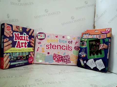 Lot 3017 5 ASSORTED CRAFT PRODUCTS  TO INCLUDE; RAINBOW COLOURING SET, NEON SPIRAL ART SET,STARLYF FANTASTIC PAD, HOBBY WORLD GIANT BOX OF STENCILS AND KLUTZ NAIL ART SET