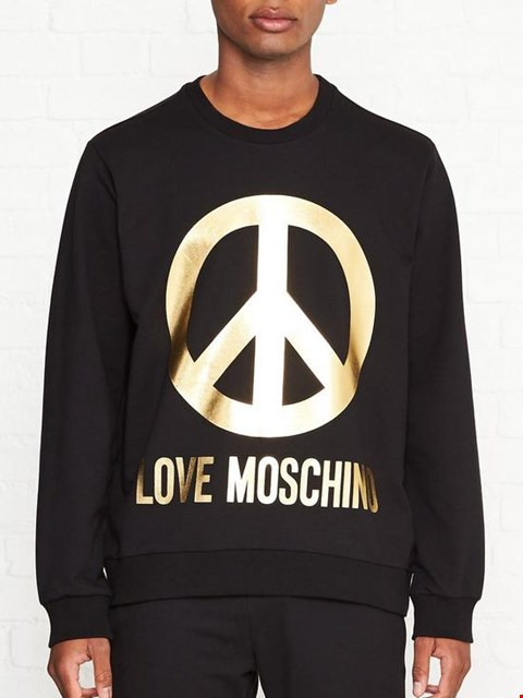 Lot 7038 LOVE MOSCHINO PEACE SIGN BLACK SWEATSHIRT - SIZE MEDIUM