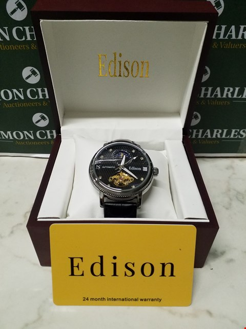 Lot 4548 EDISON BLACK DIAL STAINLESS STEEL CASE AUTOMATIC WATCH WITH BLACK LEATHER STRAP