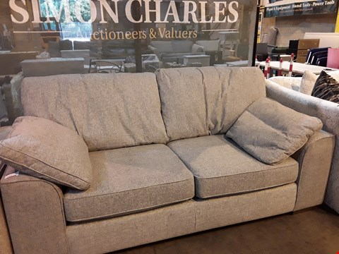 Lot 9003 QUALITY BRITISH DESIGNER NANTUCKET SILVER WEAVE TWO SEATER SOFA WITH BOLSTER CUSHIONS