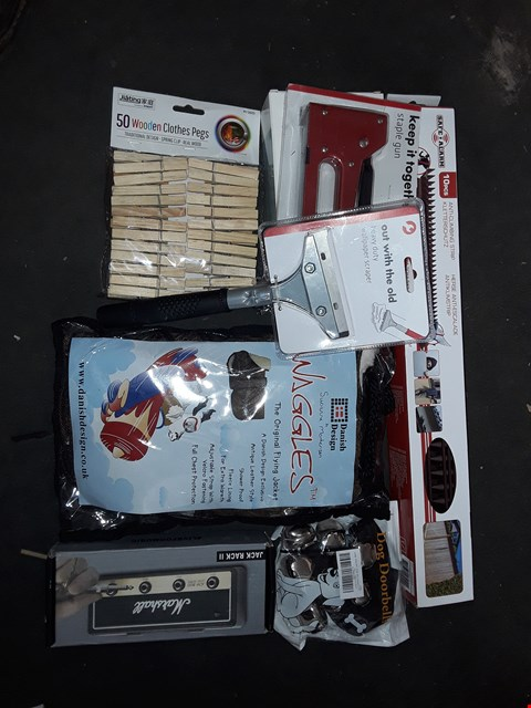 Lot 2542 BOX OF ASSORTED ITEMS TO INCLUDE ANTI CLIMBING STRIPS, DOG COAT, STAPLE GUN