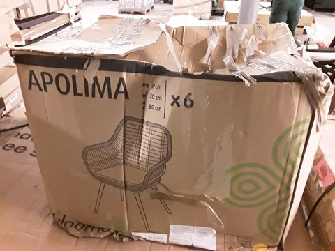 Lot 31 BOXED SET OF 6 BLOOMA APOLIMA RATTEN GARDEN CHAIRS