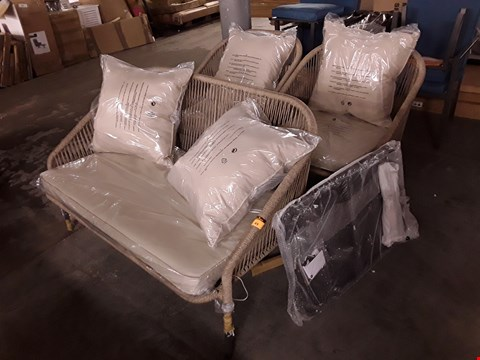 Lot 49 GRADE 1 NAPOLI ROPE EFFECT NATURAL SOFA SET & TABLE WITH CUSHIONS