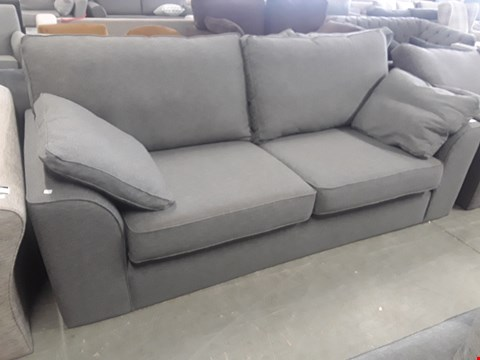 Lot 8 QUALITY BRITISH DESIGNER STAMFORD GREY FABRIC THREE SEATER SOFA WITH BOLSTER CUSHIONS