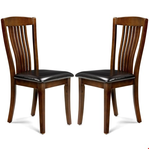 Lot 7125 TWO BOXED PAIRS OF CANTERBURY MAHOGANY FINISH DINING CHAIRS (4 CHAIRS IN TOTAL, 2 BOXES)