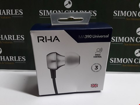 Lot 36 BOXED SET OF RHA MA390 UNIVERSAL VOICE CONTROL EARPHONES